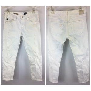 AG Sz 28 White Ex Boyfriend Slouchy Slim Jeans